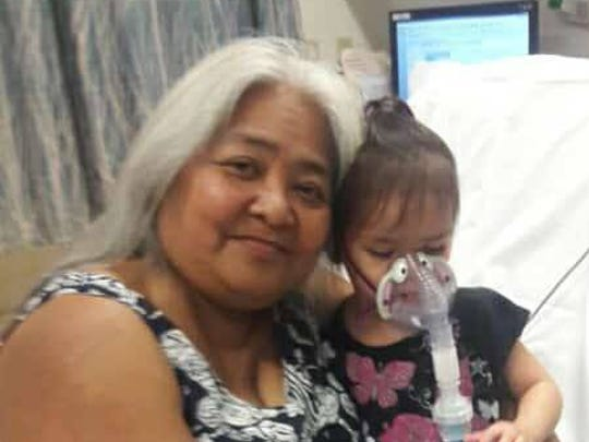 Jeanette Perez's children send love to her in Los Angeles, where she flew to take her 2-year-old grandchild Mandie Matagolai for medical care.