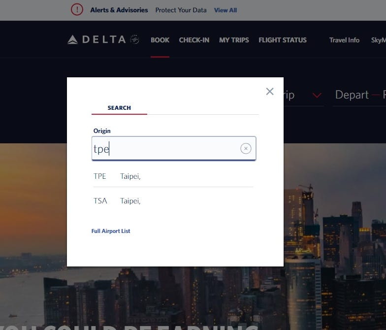 Delta Air Lines' website no longer makes a country reference to 'Taiwan' in flight information to the nation's capital. Other U.S. airlines had done the same amid threats from China.