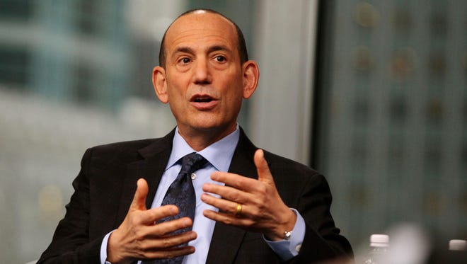 MLS commissioner Don Garber speaks Monday at the MLS state of the league address at Univision Studios in New York.