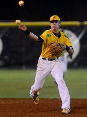 Catholic High School's Brandon Lockridge throws to first base for a quick out Wednesday night in a game against Mosley.