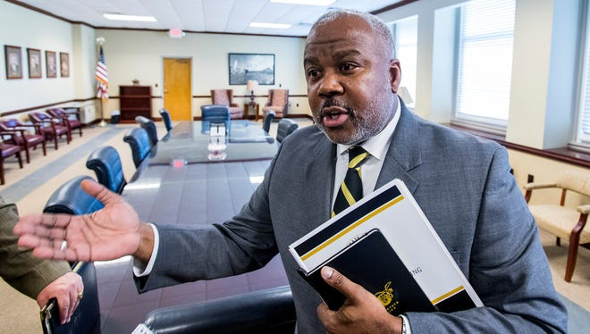 Alabama State University President Quinton Ross talks with the Montgomery Advertiser following a Board of Trustees Governance Committee meeting on the ASU campus in Montgomery, Ala. on Friday March 9, 2018.