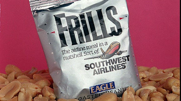 This file photo from 1994 shows Southwest Airlines branding its peanuts as 'frills.'