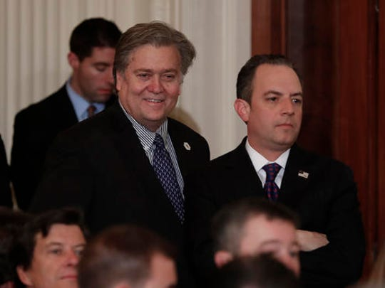 Steve Bannon, chief White House strategist to President Donald Trump, left, and White House Chief of Staff Reince Priebus stand in the East Room of the White House in Washington, Tuesday, Jan. 31, 2017, before President Donald Trump arrives to announce Judge Neil Gorsuch as his nominee for the Supreme Court.