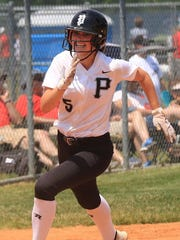 Rounding third base en route to scoring a run against Monroe in the regional semifinal is Plymouth's Whitney Holden.