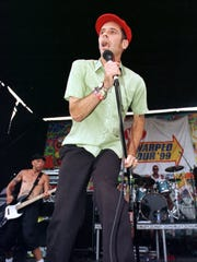 Greg Attonito of the Bouncing Souls on stage during the 1999 Vans Warped Tour in Asbury Park.