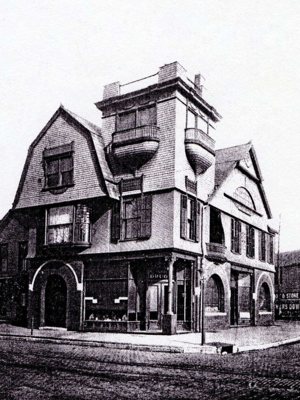 George W. Haynie's drug store at Second Street and Adams Avenue in Evansville around 1890. Haynie's Corner is named after Haynie and his well-known drug store. The building was damaged by flood in the 1930s and destroyed by fire in the 1940s.