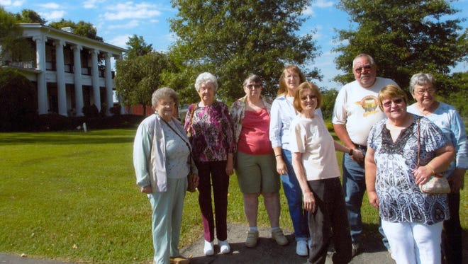 Pictured from left are members of the Stewart County Senior Citizen Center who visited the Loretta Lynn Ranch in Linden on Sept. 16: Ronetta Crutcher, Christine Byrd, Sandy Edwards, Becky Hayslip, Bonnie and Doug Eberts, Geneva Dennis, and Nancy Langston.