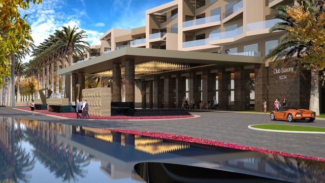 An architect's rendering of the front entrance of a 300-room luxury hotel planned by Saxony Group for downtown Cathedral City.