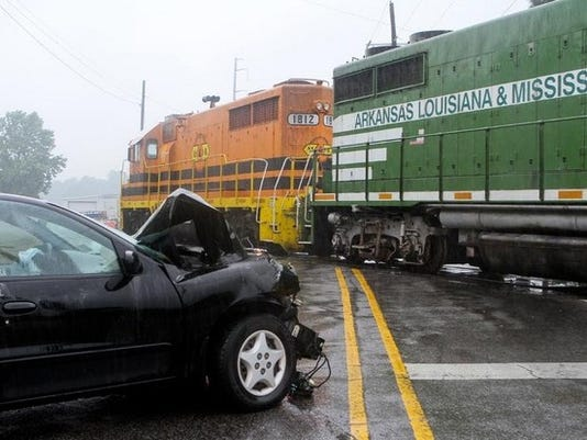 A collision between a car and a train occurred at about 9:30 a.m. Friday morning at Old Sterlington Road and U.S. 165. The unidentified driver in the vehicle was taken to an area hospital with moderate injuries. The incident is still under investigation. EMERALD MCINTYRE/ THE NEWS-STAR