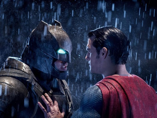 "Henry Cavil and Ben Affleck in ""Batman V Superman:"