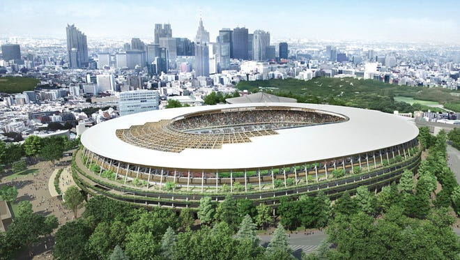 This artist rendering provided by the Japan Sports Council shows the design of the new stadium for the 2020 Tokyo Olympics proposed by Japanese architect Kengo Kuma and construction companies.