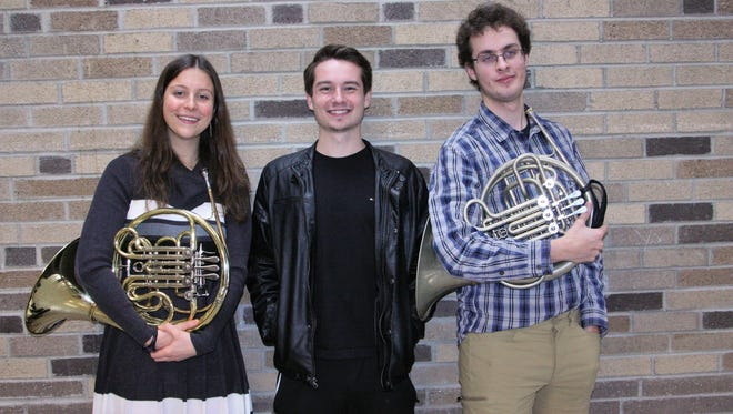 Corning-Painted Post High School students, from left, Sarah Schmidlin, Phineas Pambianchi and Aaron Thomas were all selected for all-state honors.