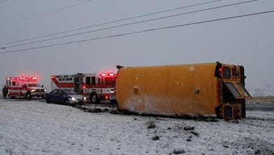 A school bus, not carrying children, overturned Friday morning on Path Valley Road.