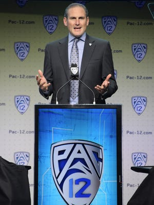 Pac-12 commissioner Larry Scott speaks during Pac-12 media day.