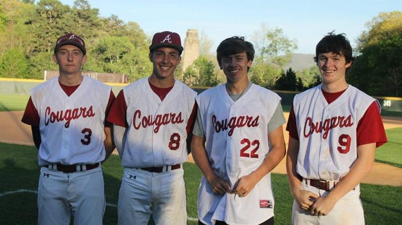 Asheville High baseball players David Head, Jared Patterson, Neal Hutchins and Sam Weidie are the youngest of three brothers to play for the Cougars.
