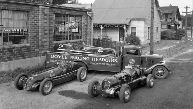 Boyle Racing Garage, 1701 Gent St. with the Boyle Special cars and the transporter.