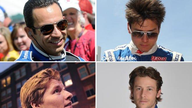 Top row: Helio Castroneves (left), Sebastian Saavedra. Bottom row: Josef Newgarden  (left) and Marco Andretti.