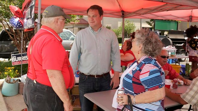 State Rep. John Burris (center), of Harrison, and Mountain Home's Scott Flippo meet in a GOP runoff Tuesday for the Dist. 17 state Senate seat.