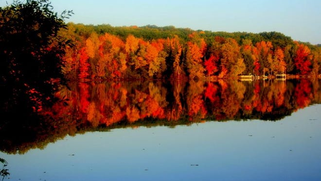 Fall color was near peak over the last weekend in September 2014 at the campground at Boulder Lake in the Nicolet National Forest.