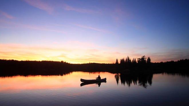 Fishing in the Boundary Waters Canoe Area in northern Minnesota on Grandpa Lake.