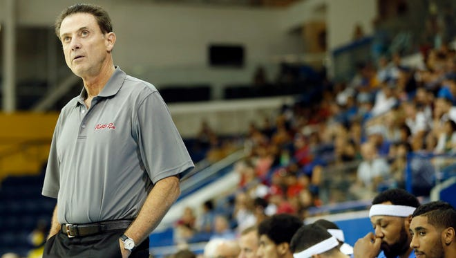 Puerto Rico head coach Rick Pitino reacts against the United States in the men's basketball preliminary round during the 2015 Pan Am Games at Ryerson Athletic Centre.
