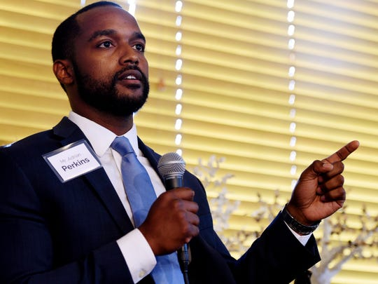 Shreveport Mayoral Candidate Adrian Perkins speaks during the 2018 Mayoral Candidate Young People Forum Tuesday evening at The Agora Borealis.