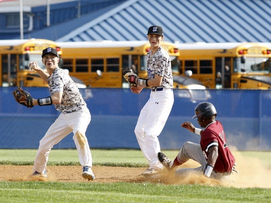 Horseheads second baseman Zach Goodell looks to throw