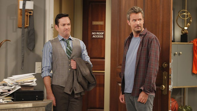 Felix (Thomas Lennon)  and Oscar (Matthew Perry) are mismatched roommates in the updated 'The Odd Couple.'