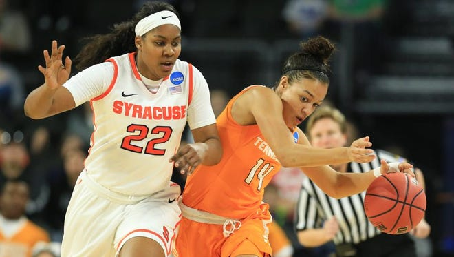 Tennessee's Andraya Carter (14) is defended by Syracuse's Taylor Ford (22) during the first half.