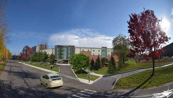 Artist's rendering of the planned new dorm at the College at Brockport.