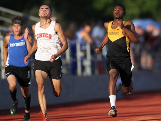 Enterprise High School's Clinton Spellman, right, competes