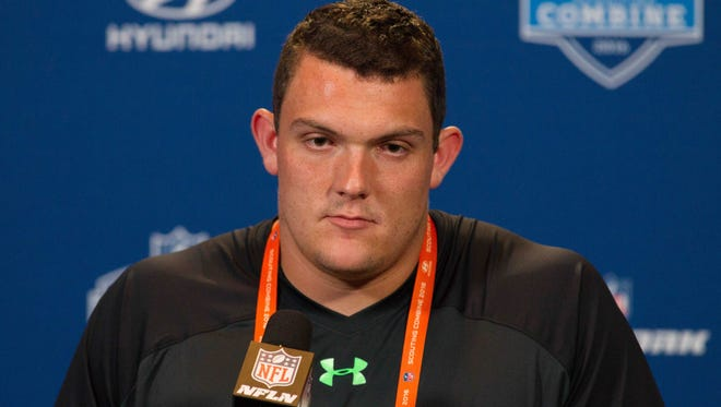 Alabama offensive lineman Ryan Kelly speaks to the media during the 2016 NFL Scouting Combine at Lucas Oil Stadium.