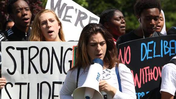 Spring Valley and Ramapo High School students rally