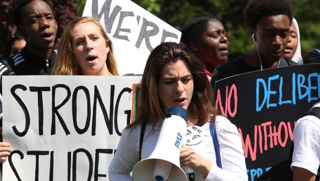 Spring Valley and Ramapo High School students rally at Memorial Park in Spring Valley May 20, 2016. They were rallying against the conditions at their schools.