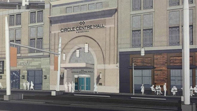 Simon Property Group is planning to add a new Georgia Street entrance to Circle Centre, depicted here in a rendering, between Meridian and Illinois streets.