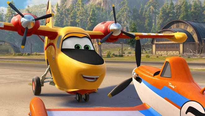Lil' Dipper (voiced by Julie Bowen), left, is infatuated with Dusty , (Dane Cook) in the animated sequel 'Planes: Fire & Rescue.'
