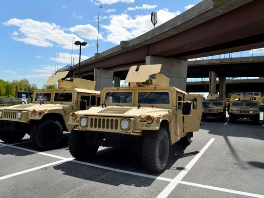 Maryland National Guard used a parking area at Camden
