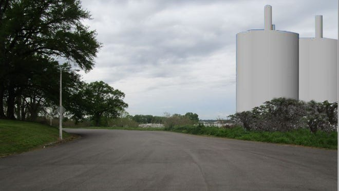 Rendering of how 145-foot-tall silos would look from Metal Museum Drive at the foot of Chickasaw Heritage Park's ceremonial mounds.