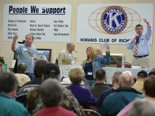 An item is sold during the annual Kiwanis Auction at