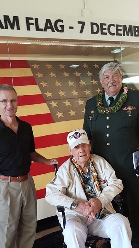 The gentleman in the middle is Mr. Swanson, who knew my father when they were stationed at Hickam Field, Hawaii in 1941. My brother Major Wynn Warner, is on the right.