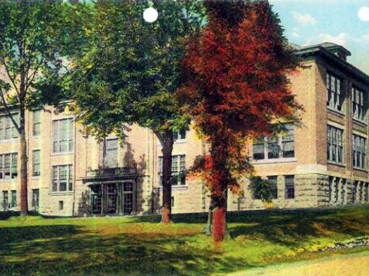 This 1909 postcard image of the former Chambersburg High School shows the original building that is underneath the massive structure at the intersection of Queen and Third streets. (Submitted)