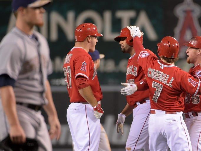 May 25: Angels first baseman Albert Pujols celebrates