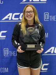 Freshman diver Molly Carlson was named the ACC Diving MVP at the ACC championships.