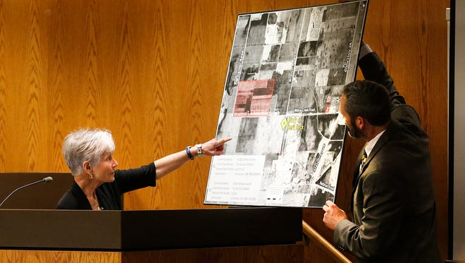 Former Fond du Lac County coroner Sue Casper points to a map where she went to view the remains of Berit Beck back in August of 1990. Monday starts the second week of  the Dennis Brantner murder trial in  Fond du Lac County Circuit Court,