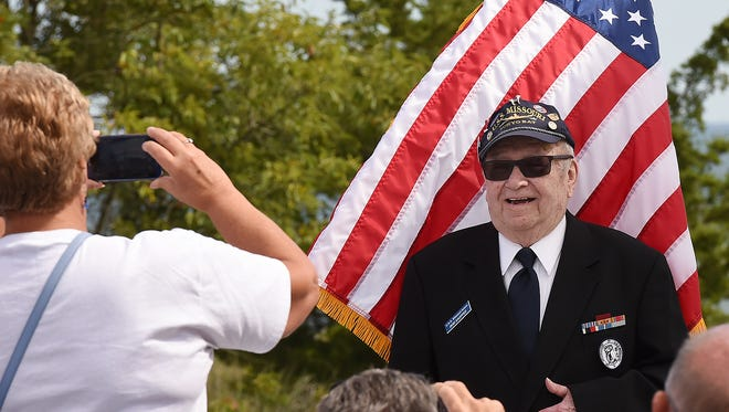 """A dedication ceremony for the opening of the """"Mighty Mo"""" 16 inch gun display from the Battleship Missouri was held at the Fort Miles Museum World War II Artillery Park located in Cape Henlopen State Park near Lewes on Friday, Sept. 2, 2016."""