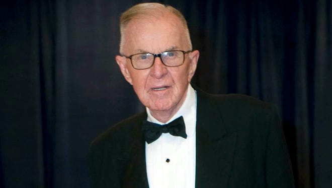 """In this April 28, 2012 file photo, John McLaughlin arrives at the White House Correspondents' Association Dinner in Washington. McLaughlin, the conservative political commentator and host of the namesake long-running television show that pioneered hollering-heads discussions of Washington politics, died Tuesday, Aug. 16, 2016, according to the Facebook page for """"The McLaughlin Group."""" He was 89."""