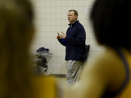 Westview High School girls' basketball headcoach Brian Haskins holds practice for his team, Thursday. Westview was scheduled to play their Class AA quarterfinal game at 3:45pm. Their game is now scheduled for 5:15pm.