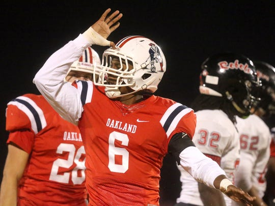 Oakland senior Kaleb Oliver returned from a shoulder injury and played a key role in Oakland's 23-7 win over Maryville Friday.