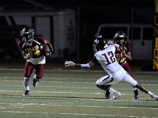 During non-league high school football game between Mt. Whitney and Tulare Union at Bob Mathias Stadium on August 17, 2018