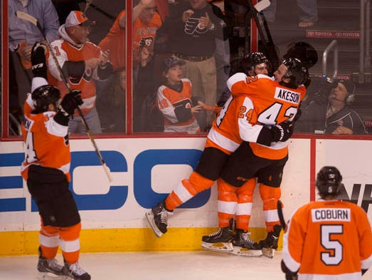 Philadelphia Flyers vs New York Rangers in game four of the Stanley Cup playoffs at the Wells Fargo Center in Philadelphia on Friday, April 25, 2014.